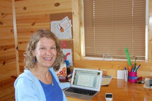 Here I am writing at  the Oakdale Farms Writer's Retreat Photo by Cheryl Fusco Johnson.